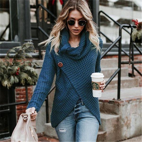 UIECOE Herbst Neue Damen Pullover Casual Cowl Neck Chunky Kabel Stricken Wrap Pullover Weibliche Pullover