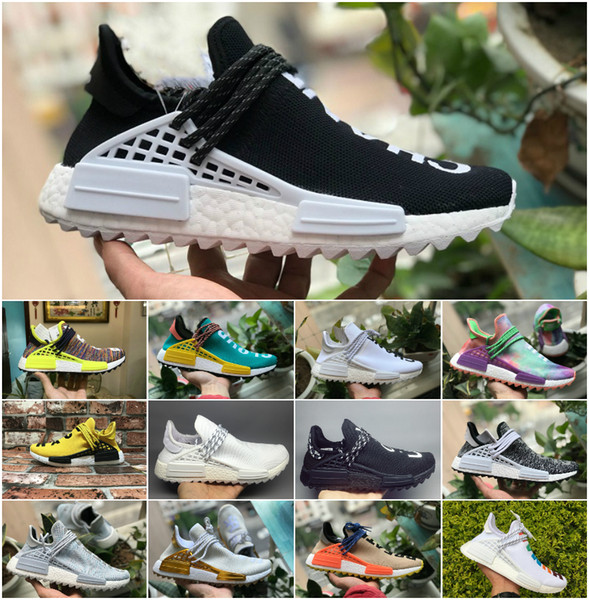 2018 NEW NMD Human Race Pharrell Williams Hu Trail Holi Mens Women Running Shoe High Quality primeknit Human Races Trainers Sports Sneakers