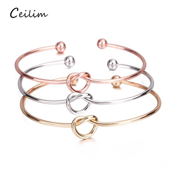 top popular Metal Zinc Alloy Rose Gold Color Tie Knot Bracelet Bangles Simple Twist Cuff Open Bangles Jewelry Adjustable Bangle For Women Jewelry 2019