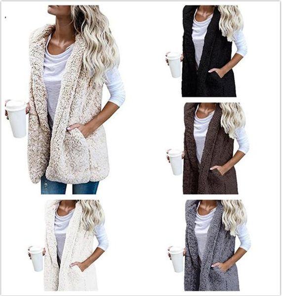 30 unids mujeres calientes chaleco con capucha chaqueta de invierno sudadera con capucha Outwear Faux Fur Zip Up Sherpa abrigo ocasional M287