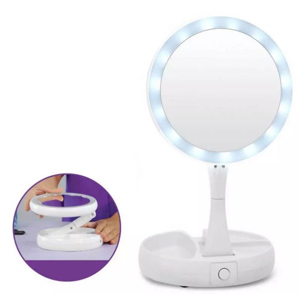 LED Makeup Mirror Double-sided Rotation Folding USB Lighted Vanity Mirror Touch Screen Tabletop Lamp Adjustable Cosmetic Mirror