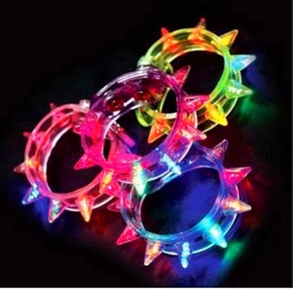 Multi Colors Night Glow Stick Flashing Bracelet Light Sticks Blinking Spike Bracelets Festival DIY Led Party Kids Toy