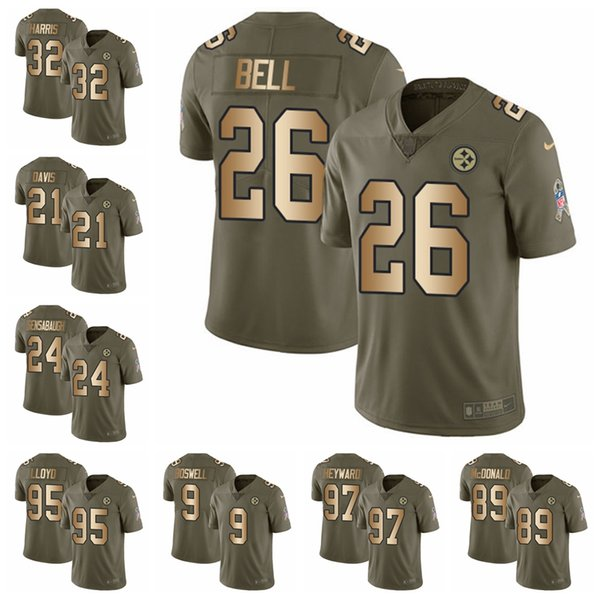 sports shoes db41c ca47d 2019 Pittsburgh Olive/Gold 2017 Salute To Service Steelers 26 Bell Jersey  84 Antonio Brown 90 T.J. Watt Limited Football Jersey 83 From Topjerseys06,  ...