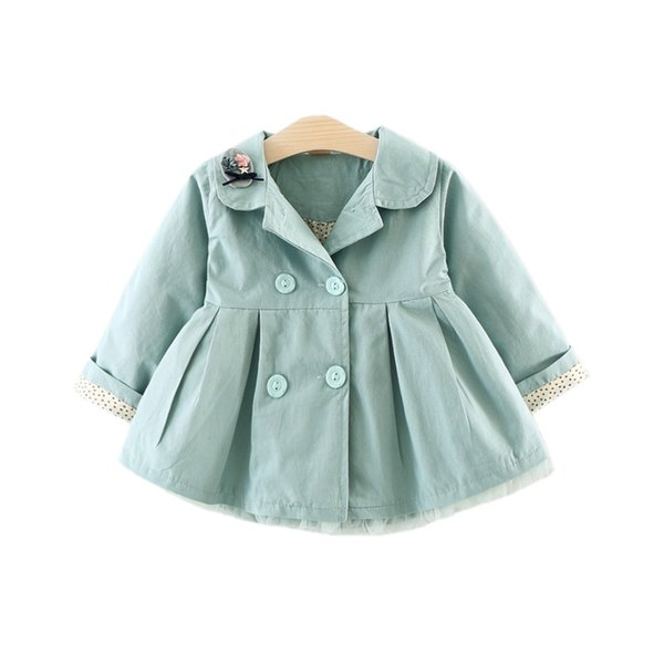top popular cute causal baby girl trench coat solid embroidery European style coat for 6-24M baby newborn infant outerwear coat clothes hot 2019