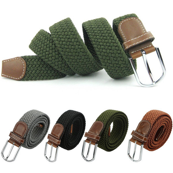 best selling Hot male military belt Top quality 3.5 cm wide Woven Stretch Braided Elastic Leather Buckle luxury canvas belts