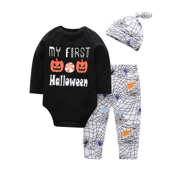 04f8a42d5 2019 My First Halloween Baby Infants Clothing Outfits Bodysuit Long Sleeve+  Cobweb Pant Hat Autumn Winter 0 24months Wholesale From Allison87099, ...