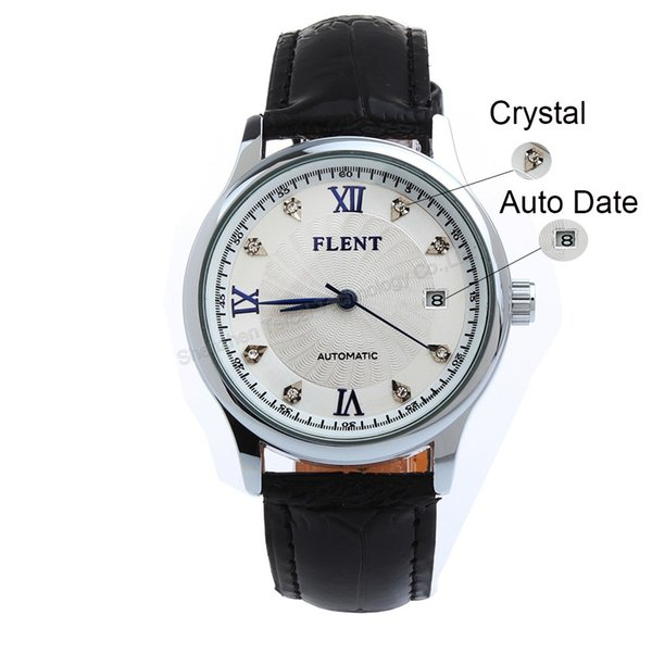 Lujo Elegante Diamante Fecha automática Reloj automático automático Correa de cuero negro Relojes de pulsera