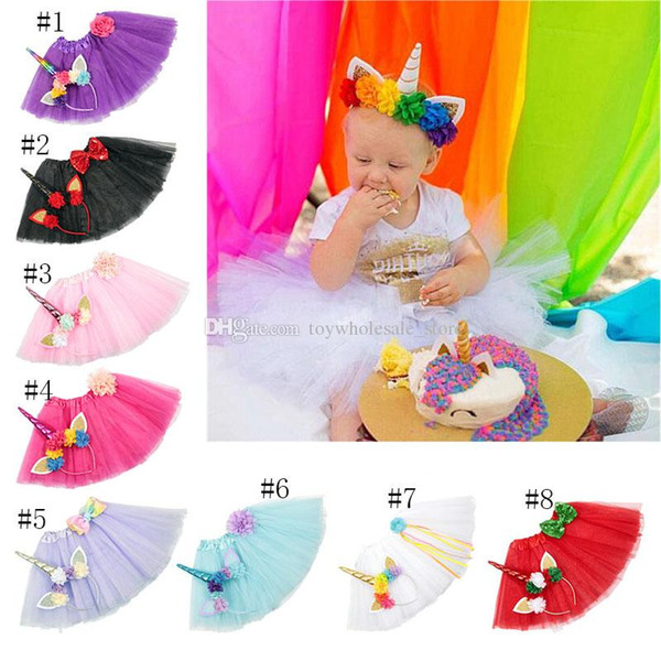 INS Newborn Tutu Skirt With Unicorn Horn Headband 2pcs/set Girls Birthday Photography Props 2018 Kids Princess Clothes 8 colors C3653