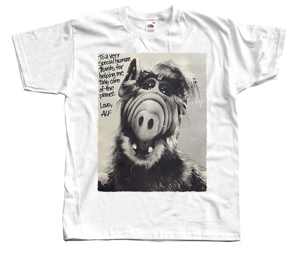 Alf V9,tv show poster,1986, T-SHIRT (WHITE) all sizes S-3XL High Quality Casual Printing Tee O-Neck Hipster Print Round Neck Man