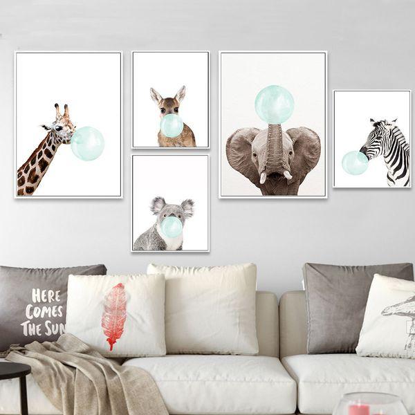 Baby Animal Bubbles Elephant Koala Canvas Painting Wall Art Funny Poster Nordic Nursery Print Decorative Picture Bedroom Decor