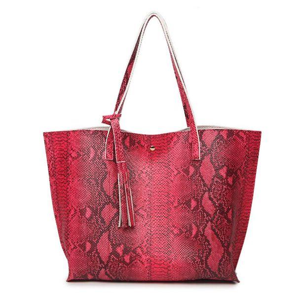 New hot sale 2018 European and American fashion snake pattern ladies handbag  luxury handbag shoulder bag personality tote bag, free shipping 66b2a87896