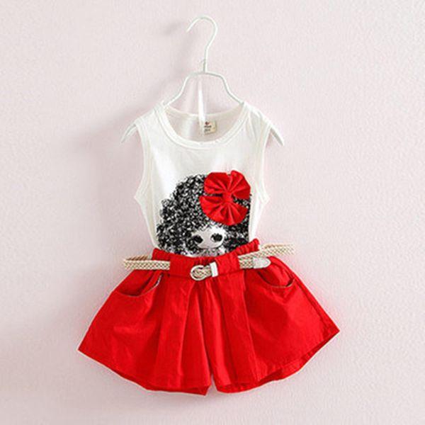 2018 Mode Sommer Kinder Mädchen Kleidung Set Cartoon Mädchen Puppen Tank Top Weste Shirts + Shorts + Gürtel 3 Stücke Kleidung Anzüge