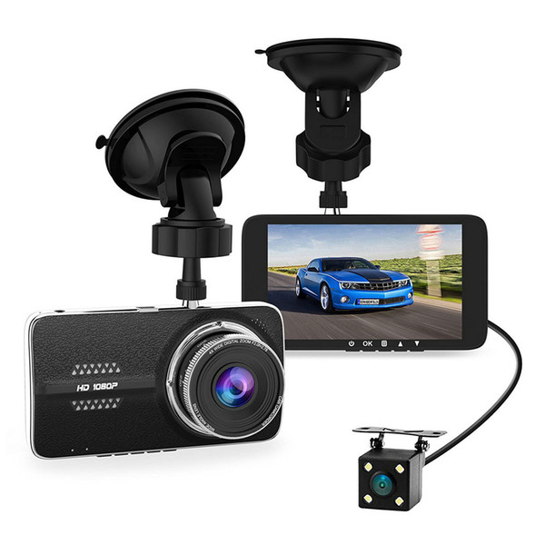 Dual Lens Car DVR Dash Cam NTK96658 Video Recorder 4.0inch IPS Full HD 1080P 30fps H.264 G-sensor Two Cameras