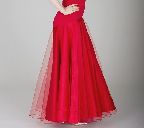 Conception rouge de jupe de danse de salon de bal rouge-noir pour la robe de danse de Tango / Jazz / vêtements de pratique de femme