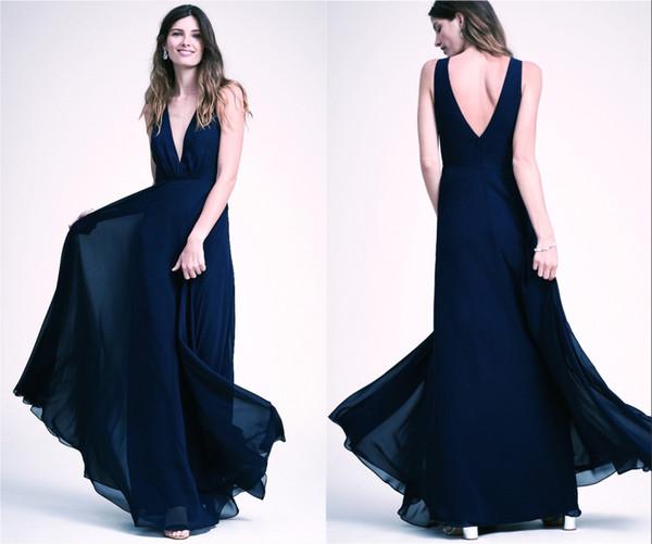 Francês Colete V Profundo Baixo Voltar Elegante Um Estilo Dama de Honra Vestidos Multi Color Ball Evening Dresses HY4187