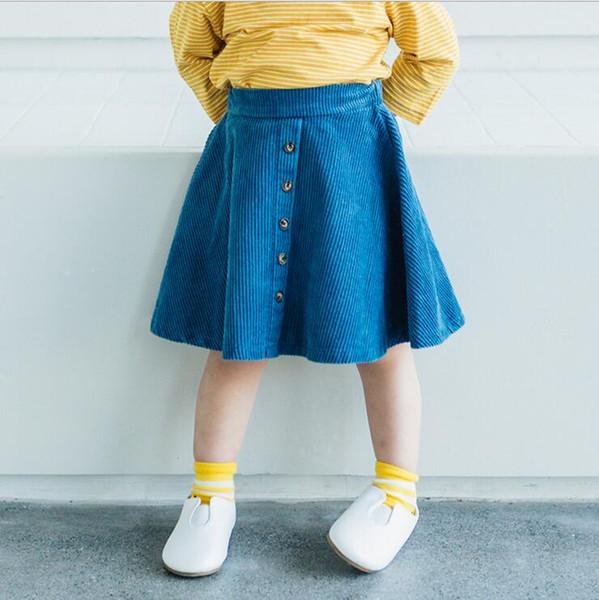 2018 koreanischen Stil Großhandel neue Mädchen Cord Rock Frühling gute Qualität Mädchen Röcke 1-6t