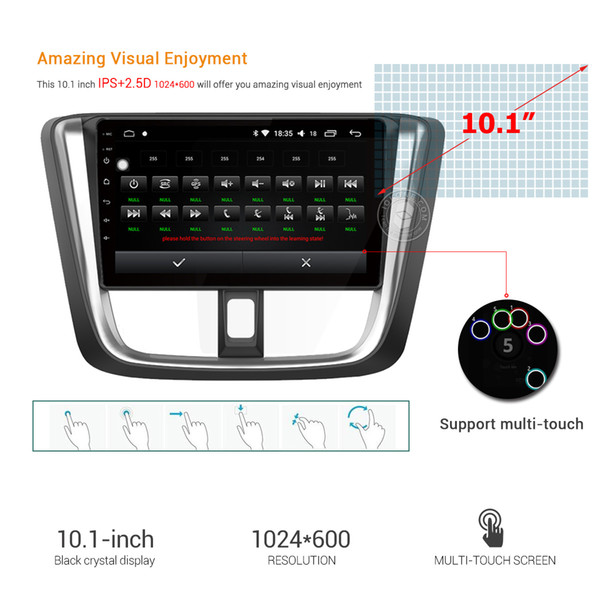 10 1 IPS 2 5D HDTouch Screen OCTA Core Android 8 0 Car DVD Car Radio Stereo  GPS Navigation Player For Toyota YARiS VIOS 2017 Portable Car Dvd Player