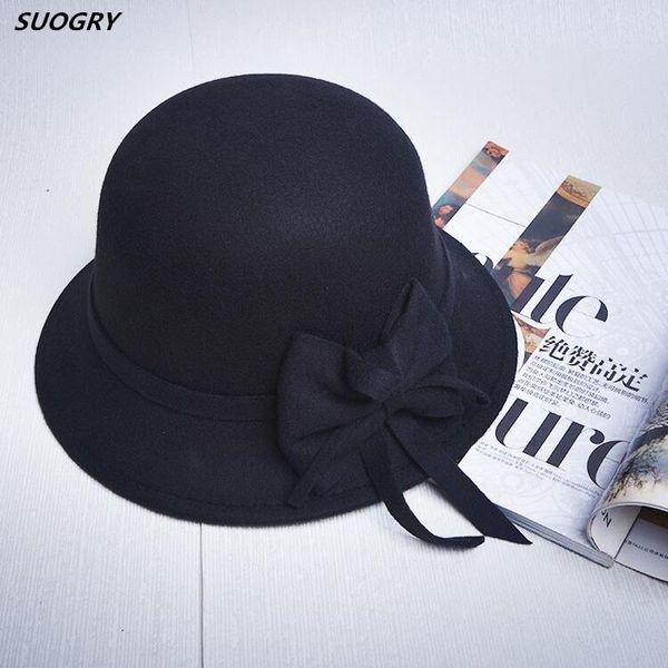 Elegant Women Round Bowler Cap Imitation Wool Bowknot Fedoras Cotton Cloche Bucket Hat Vintage Brim Chapeu Feminino