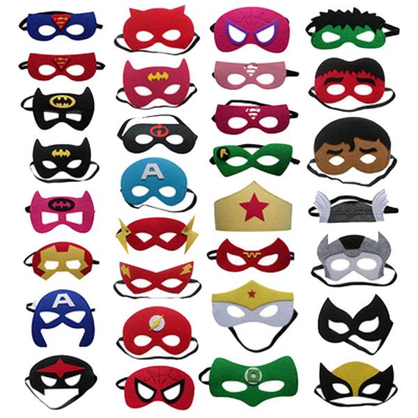 100pcs alla mascherina della decorazione di Halloween su ordinazione Maschera per gli occhi dei bambini Supereroe Natale Cartoon feltro maschera Masquerade Dance Party maschere
