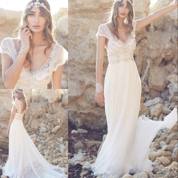 Sparkly Lace Bohemian Beach Wedding Dresses 2019 Silk Chiffon Bling Beaded Crystal Cap Sleeve Boho Ivory Bridal Gowns Vestido De Novia