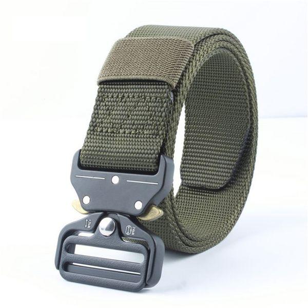 3.8cm Tactical Gear Heavy Duty Belt Equipment Army Men Thicken Metal Buckle Sturdy Nylon Belt Combat Waist Support