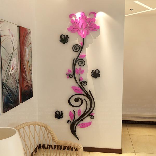 Rose Blume Rebe Wandaufkleber 3D Kristall Acryl dreidimensionale Wand Aufkleber Eingang TV Hintergrund Malerei