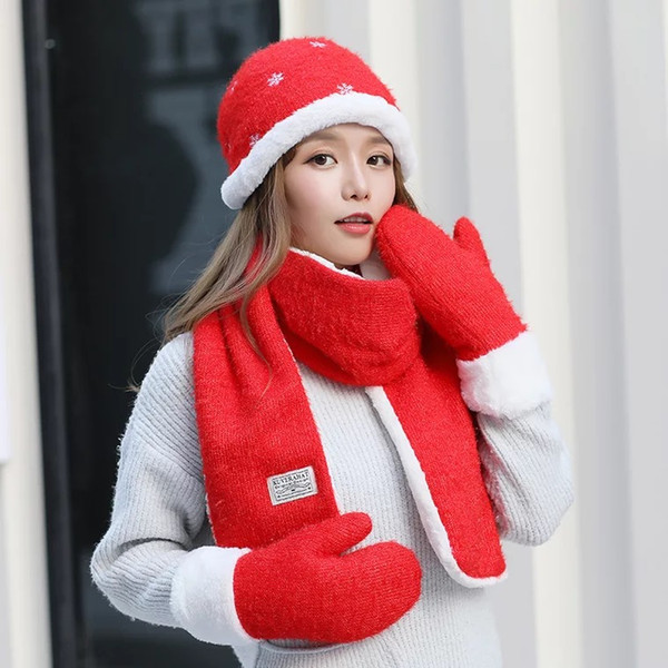 Korean Version Of The New Winter Women's Fashion Solid Color Warm Knit Scarf Hat Gloves Three-piece