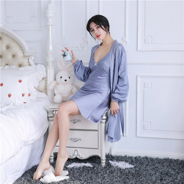 Sexy Women Silk Robe and Gown Sets Lace Nightwear Women Set Mini Lingerie Gown 2 Pieces