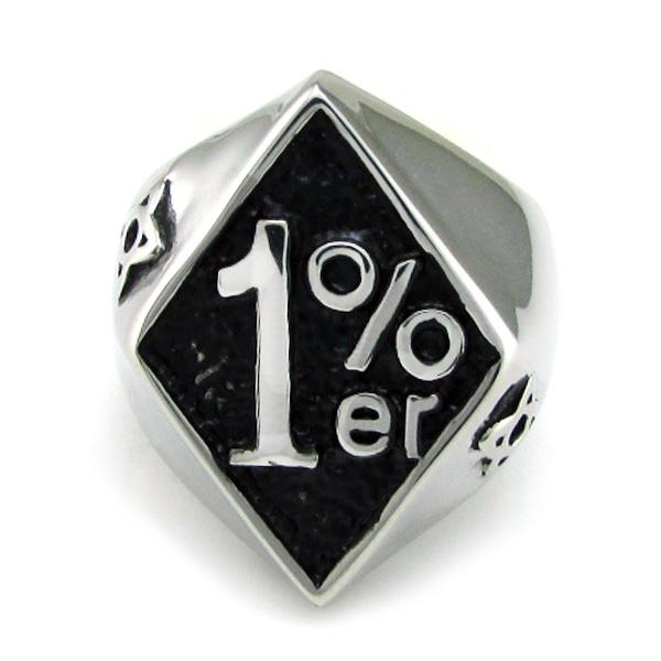 Free Shipping ! Punk Silver White Black color 316L Stainless Steel 1% er Ring Rock Number One Percent Men's Biker Rings Jewelry