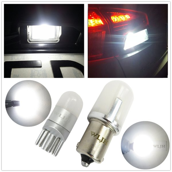 WLJH Auto Car T10 W5W LED P21W 1156 Ba15s LED Bulb 3030SMD Number Lamp License Plate Reverse Back Up Light For Ford Focus