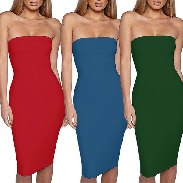 Bodycon Strapless Party Sleeveless Backless Tight-fitting Sleeveless Backless Wrap Hip Women Dress One Shoulder Cherrykeke