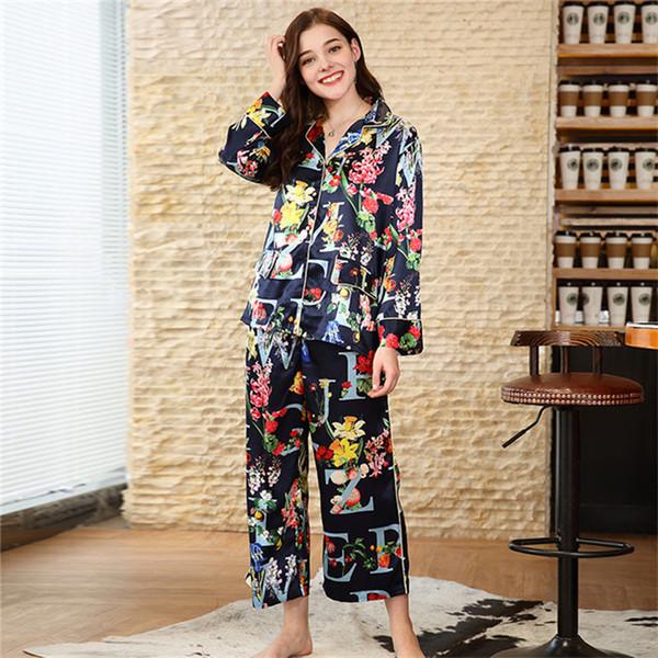 Blumendruck V Set Nachtwäsche Zwei Pyjamas Frauen 2 Pyjama Satin Ausschnitt Sets Stücke Langarm Große Farben Großhandel Atmungsaktive SJYT162 Größe yN8nOmwPv0