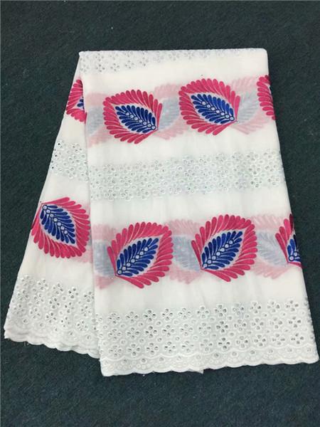 Muito africano algodão bordado material de renda para costura Swiss voile tecido de renda para partry dress ECP61 (5 jardas / lote)
