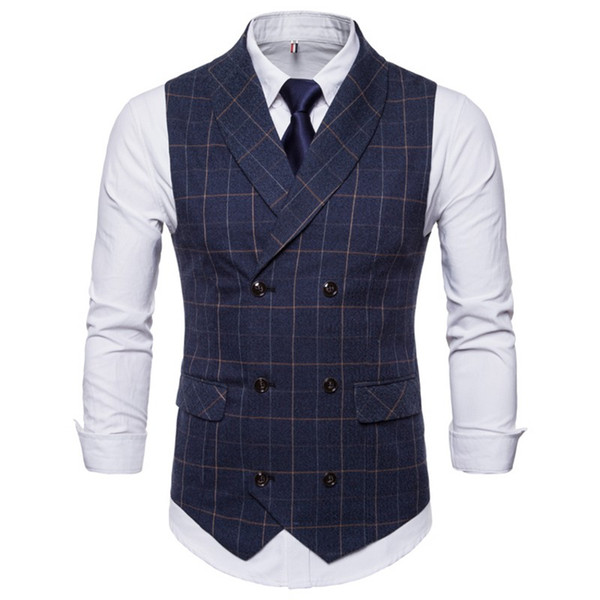 2018 British Style Vest Heren Gilet Male Fomal Business Suits Vest For Men Wedding Casual Navy Blue Tweed Tuxedo Waistcoat