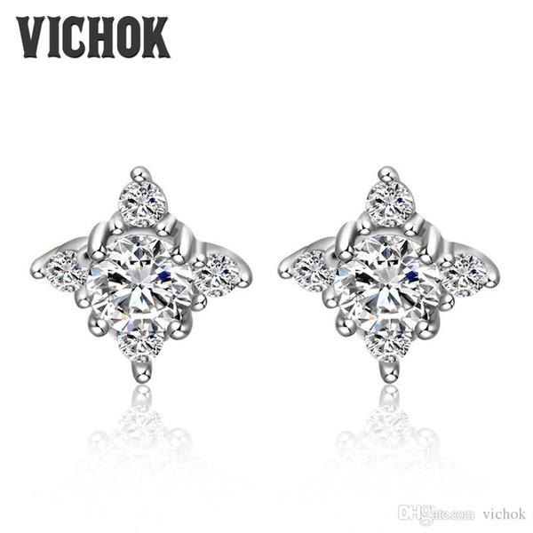 Flower Design Stud Earring Earings Fashion 925 Sterling Silver Crystal Earrings for Women Wholesale Jewelry oorbellen Fine Jewelry VICHOK