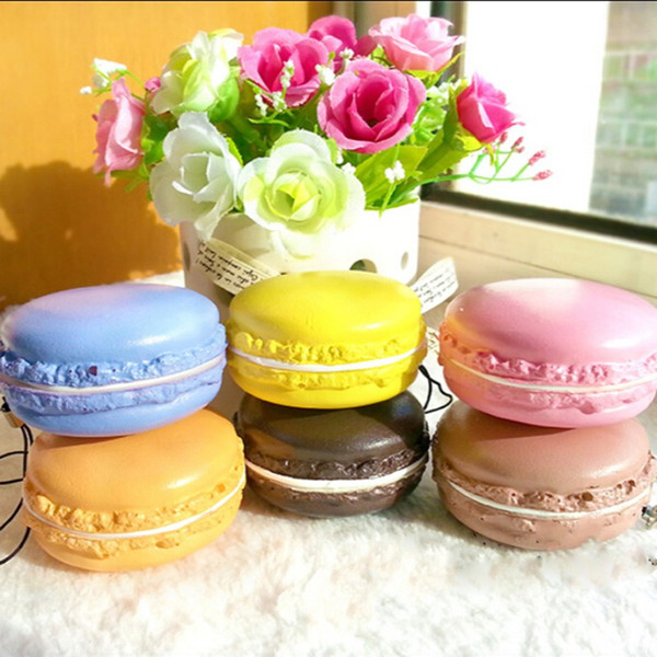 1PC Kawaii Soft Dessert Macaron Squishy Cute Cell phone Charms Key Straps random color free shipping whoesales high quality 2018 new hot
