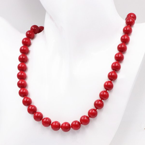 Bohemia Style Artificial Coral Beads Necklace for Women 8 10 12 14mm Round Red Chain Necklaces Strand Choker Jewelry 18inch A587