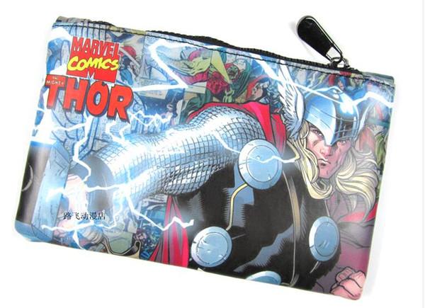 Marvel Comics Thor LOKI PU Pencil Bag Student School Office Multipurpose Zipper Pen Pouch Cosmetic Make-Up Bags