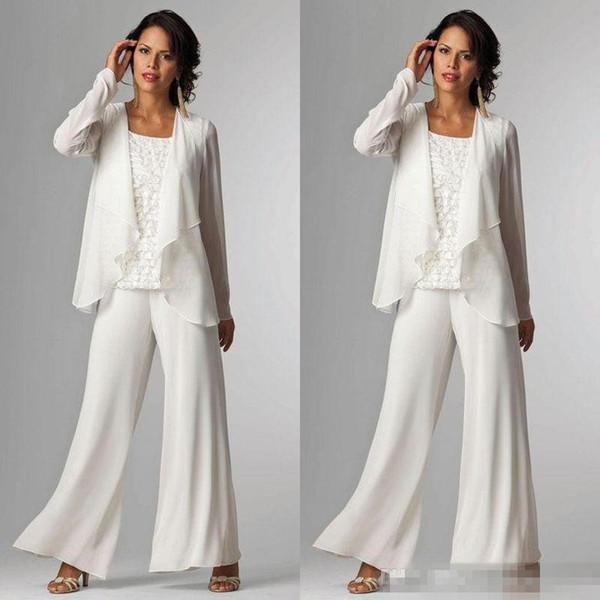 Acheter élégant Blanc En Mousseline De Soie Mère De Mariée Pantalon De Mariage Pour Le Mariage à Manches Longues Plus La Taille Formelle Femmes Soirée