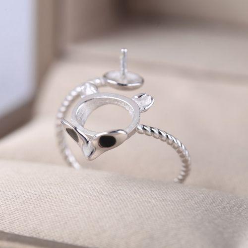 Стерлингового серебра 925 кольцо 8x10mm Овальный кабошон опал Гранет установка 8 мм жемчуг или круглый шарик полу кольцо белого золота цвет