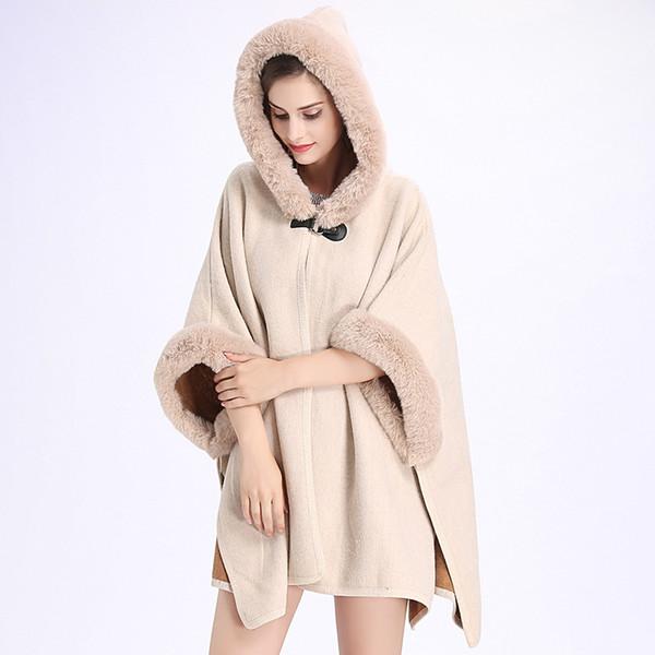 Großhandel SC127 2018 Winter Warm Plus Größe Mode Zwei Gebrauchte Poncho Faux Kaschmir Schal Frauen Nachahmung Kaninchenfell Strickjacke Mantel Mit