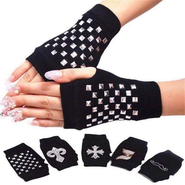 Women Winter Knitted Short Gloves Fingerless Wool Gloves Winter Soft Warm Crochet Wrist Gloves Black Sailor Dance Mittens with Thumb Hole