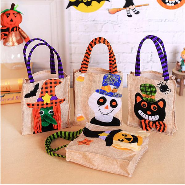 Dia das bruxas saco do presente de linho reticule sacola dos desenhos animados abóbora fantasma crânio da bruxa festa de halloween dress up adereços crianças saco de doces