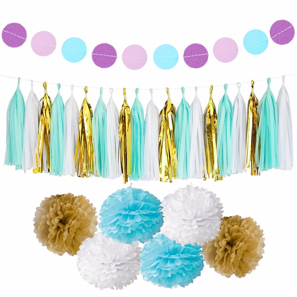 Home Decor Fengrise Circle Garland Tissue Paper Pompom Wedding Decoration For Home Birthday Party Kids Favors Baby Shower Supplies