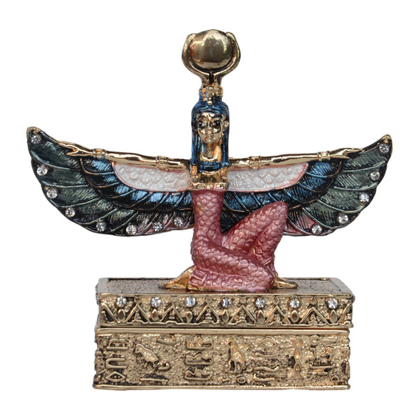 Egyptian Goddess Winged Isis Statue Golden Trinket Box Figurine Gifts Jewelry Container