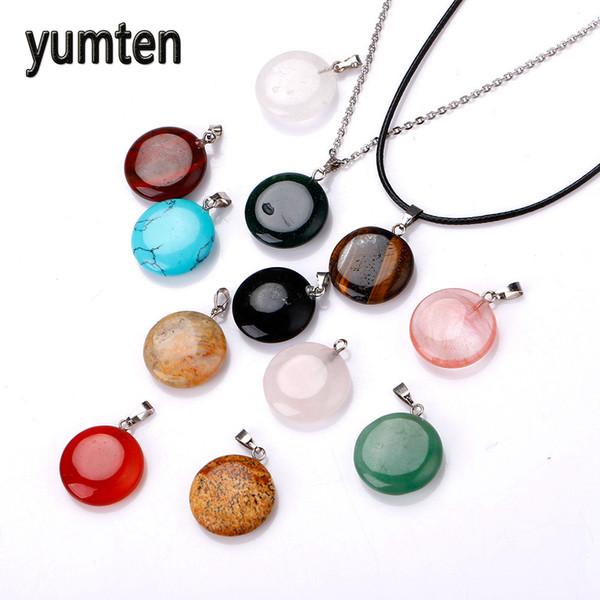 Yumten Natural Stone Pendant Charms Moonstone Pingentes Jewelry Making Round Jade Pendant Pierre Naturelle Collier Women For Men