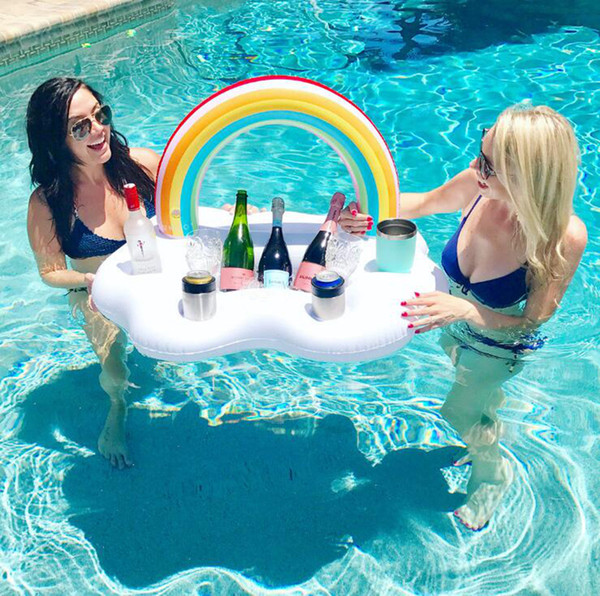 Rainbow Cloud Cup Holder Ice Bucket With 4 Hold Inflatable Mattress Table Bar Tray Pool Party Beer Drink Food Float Party Toy 30pcs OOA4916