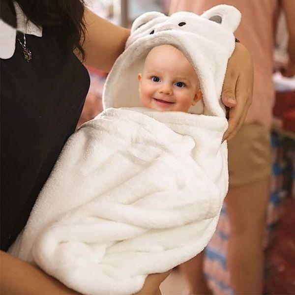 Baby Soft Blanket Child Bath Towel Cute Cartoon Animal Shape Hooded Towel Baby Wrapped Hooded Bathrobe