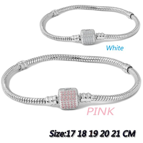 free shipping trendy silver snake chain USA&European bracelet with 925 clip with white or pink clear CZ for women jewelry gifts