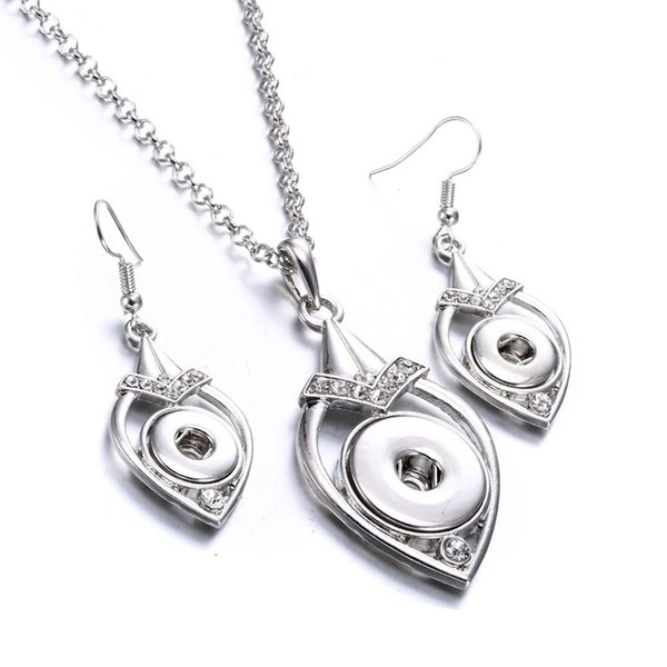 top popular Noosa Silver plated crystal water drop ginger snap button jewelry set 12mm snap button earrings &18mm snap button necklace jewelry sets 2019